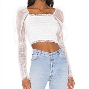 For Love and Lemons White Puff Sleeve Blouse